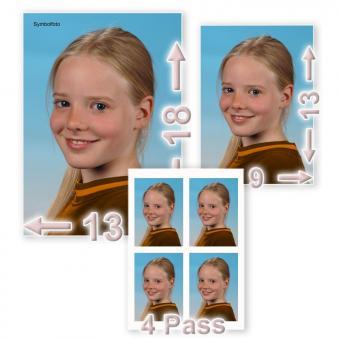 1 X 13/18 + 1 X 9/13 + 4 Fotos im Passbildformat
