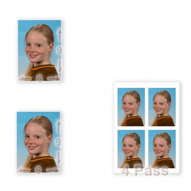2 X 6/9 + 4 Fotos im Passbildformat