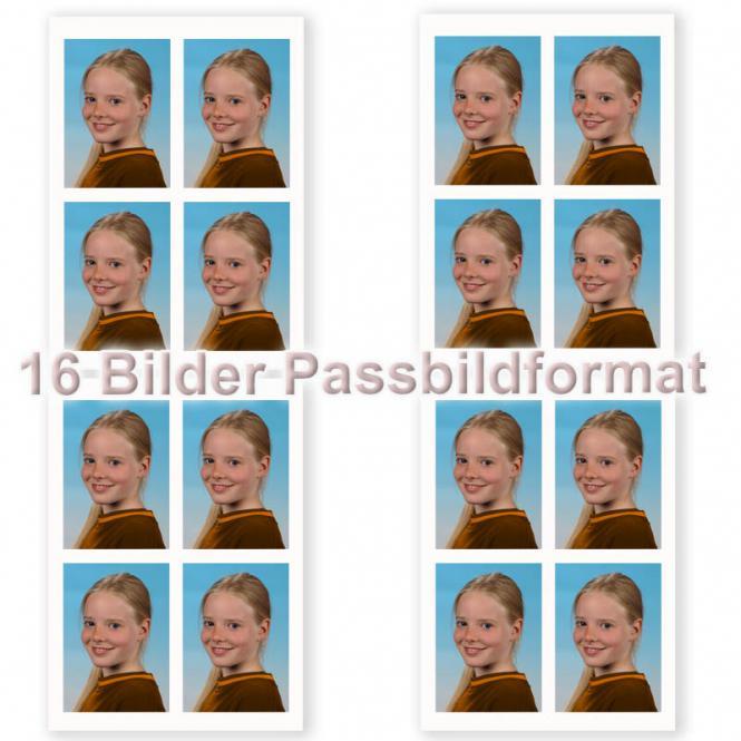 16 Fotos im Passbildformat
