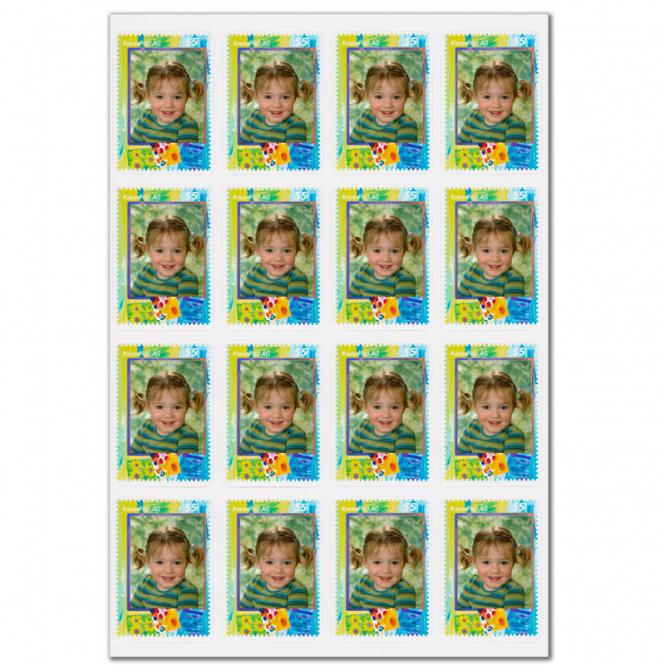 16 Briefmarkenaufkleber 'Kinderpost AG'